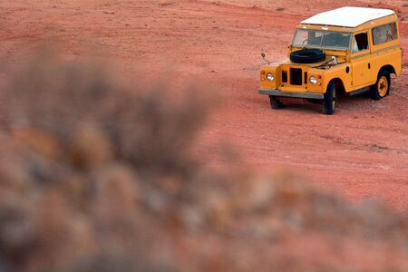 Coober Pedy, South Australia - May 21 2019:Land Rover Defender Series II. The Land Rover was the first mass-produced civilian four-wheel drive car with doors on it.