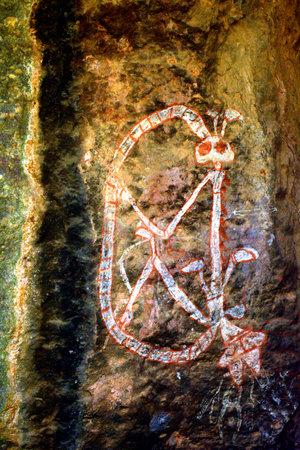 Aboriginal Rock Paintings at Burrungkuy Nourlangie rock art site in Kakadu National Park Northern Territory of Australia