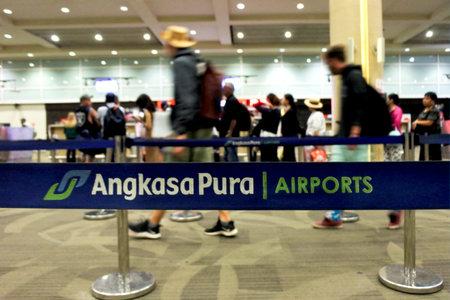Bali, Indonesia - July 22 2019:Air passengers at Ngurah Rai International Airport Bali Indonesia, worlds third best airport (with 15-25 million passengers each year).