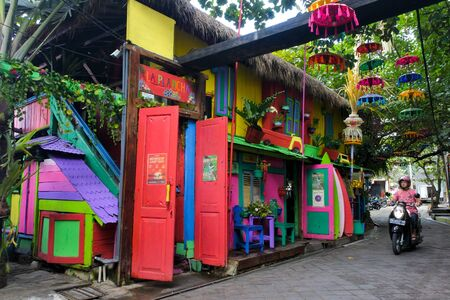 Bali, Indonesia - July 23 2019:Colorful building on Seminyak Beach. Seminyak town rapidly become one of the most well-known tourist areas in Bali Indonesia. 新聞圖片