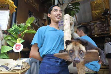 Ubud, Bali, Indonesia - July 25 2019:Kopi luwak civet coffee vendor in Ubud market in Bali Indonesia. The coffee includes partially digested coffee cherries, eaten and defecated by the Asian palm civet. 新聞圖片
