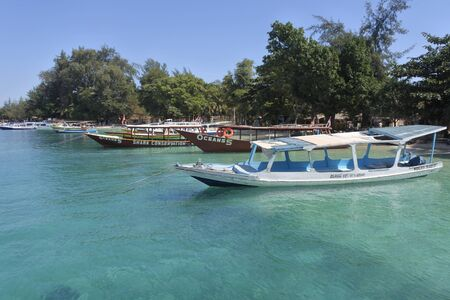 Landscape view of Gili Air Island north to Lombok Island Indonesia. Gili Island known for their pristine underwater world are a very popular travel destination for scuba divers.