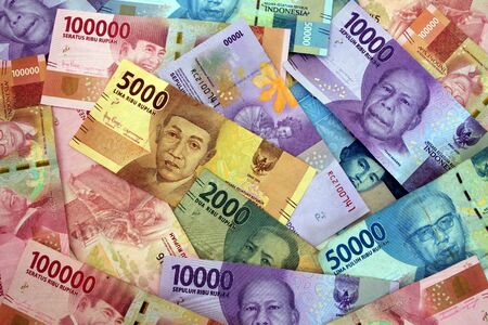 Moneda rupia indonesia de fondo de billetes de banco de Indonesia.
