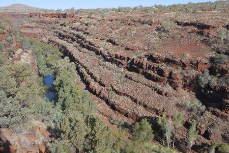 Aerial landscape view of Karinjini National Park Pilbara Western Australia