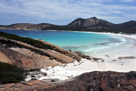 Aerial landscape view of Thistle cove in Cape le grand Western Australia