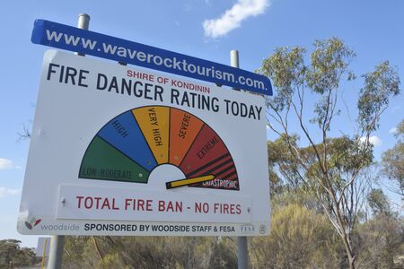 HYDEN, WA - DEC 17 2019:Fire Danger Ratings road sign indicating catastrophic level. Australias climate has warmed by about 1.1�C since 1910.