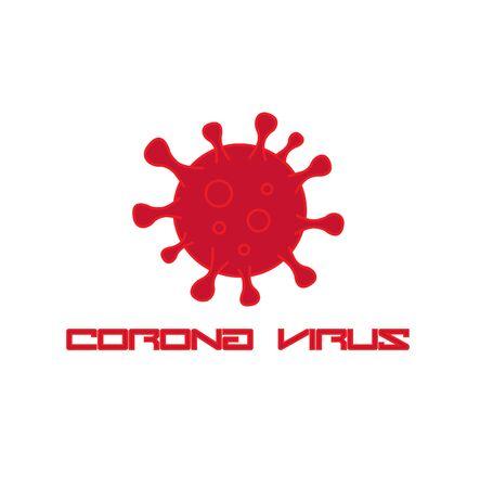 Hazardous red Coronavirus icon logo vector Illustration. Healthcare and medical concept background.