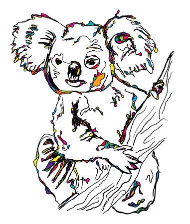 One baby cub Koala sitting on a gum tree in Australia. Children's sketch style hand drawn for children, children's clothing, poster, postcard. Vector illustration. 矢量图像