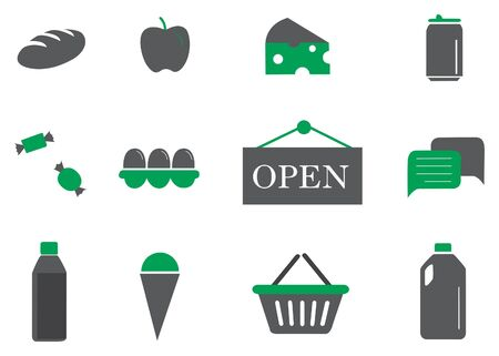 Green, white and black grocery store icon set. Vector image illustration 矢量图像