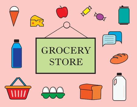Colorful grocery store sign surrounded by icons in Pastel Colors. Vector image illustration. 矢量图像
