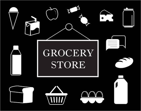 Black and white grocery store sign surrounded by grocery icons. Vector image illustration. 矢量图像