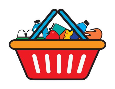 Grocery store shopping basket with supermarket food items inside. Vector image illustration.  矢量图像