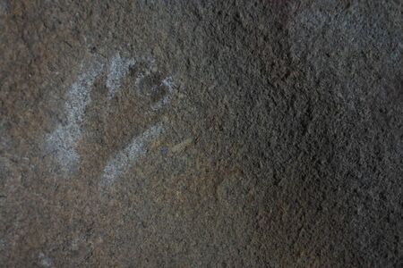 Ancient Aboriginal Australian indigenous rock painting in Mulkas Cave near Hyden Western Australia.