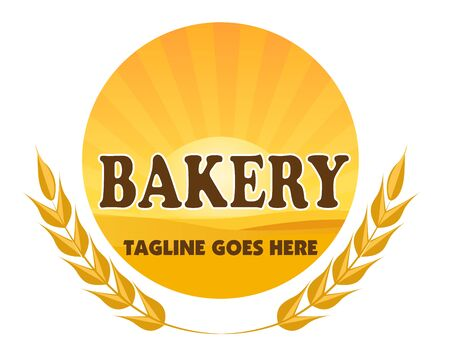 Bakery company vector logo with sunset over a wheat field on white background