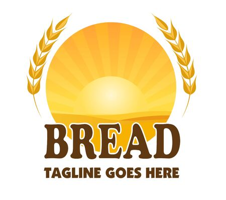 Bread company vector logo with sunset over a wheat field on white background