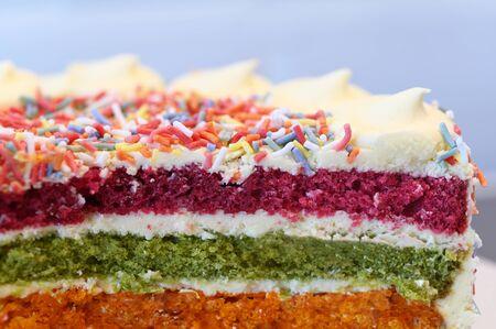 Slice of Rainbow cake served served on rainbow theme party.