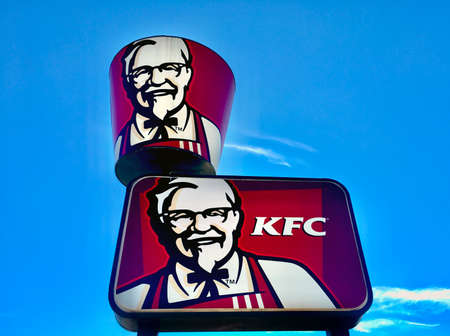 PERTH - JUNE 09 2020: KFC American fast food restaurant chain sign.It is the world's second-largest restaurant chain after McDonald's, with 22,621 locations globally in 150 countries as of December 2019.