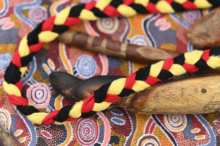 Aboriginal Australians people manufactured a range of tools, utensils, music instruments, fighting weapons and hunting weapons made from nature resources of wood, bone and shell. Reklamní fotografie