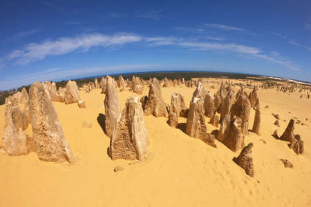 Aerial landscape view of the Pinnacle desert limestone formations near Cervantes in Western Australia.
