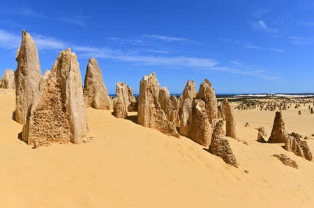 Landscape of the Pinnacle desert limestone formations near Cervantes in Western Australia.