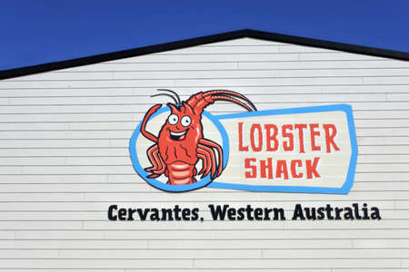 CERVANTES, WA - OCT 07 2020:Lobster Shack in Cervantes Western Australia.Western Rock Lobster fishery is the most valued single-species fishery in Australia.