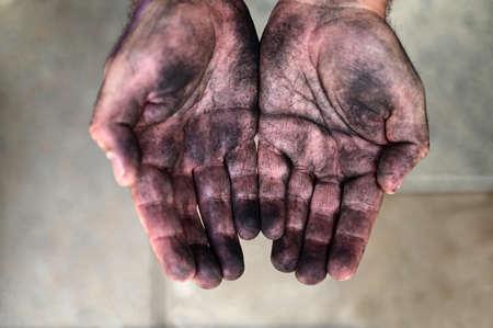 Adult man beggar hands close up view 免版税图像