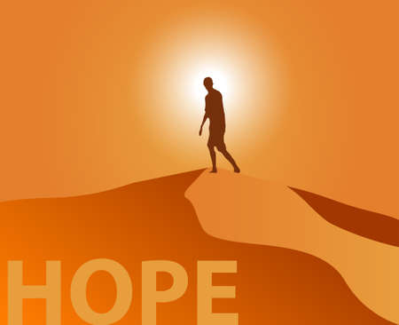 Silhouette of a man climbing up a sand dune at sunset looking towards the horizon. Stock illustration vector representing hope, exploration and freedom. 矢量图像