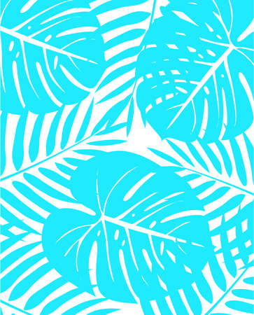 Light blue tropical plants leaves scattered on white background.