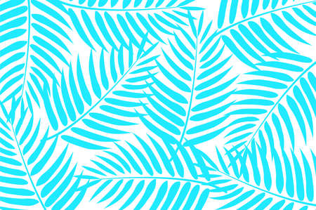 Light blue palm leaves scattered on white background.
