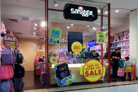 PERTH, WA - JULY 29 2021:Australian people shopping in Smiggle store. Smiggle is an Australian-based retail store chain that sells stationery and accessories renowned for its use of vibrant colors.