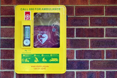 PERTH, WA - AUG 06 2021:Heartstart Defibrillator.Defibrillation is a treatment for life-threatening cardiac dysrhythmias, specifically ventricular fibrillation and non-perfusing ventricular tachycardia. Éditoriale