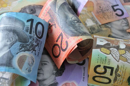 Group of Australian dollar bank notes background.
