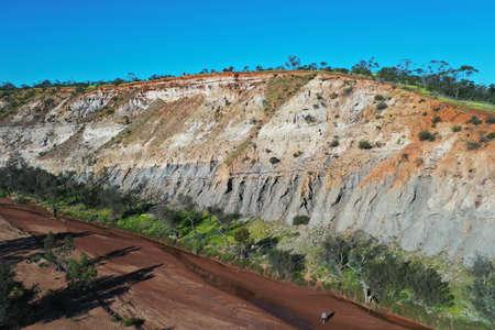 Aerial drone landscape view of Irwin River riverbank and cliffs in Victoria Plateau near Mingenew Western Australia