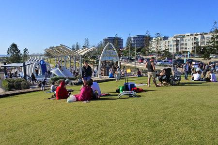 PERTH, WA - SEP 05 2021:Australian families having fun in the Whale Playground in Scarborough Beach a popular local tourist attraction in Perth Western Australia.