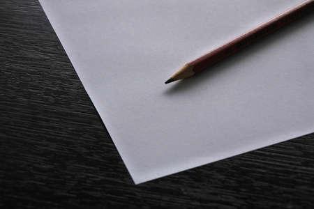 Pencil on white paper Banque d'images