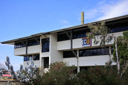 PERTH, WA - SEP 29 2021:Edith Cowan University (ECU) building in Perth, Western Australia.ECU has been ranked in the world's top 100 universities under 50 years old in the 2021 Times Higher Education.