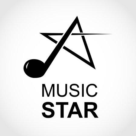 Logotipo del icono de la estrella de la música con una nota musical formando una estrella. Ilustración de vector. Logos