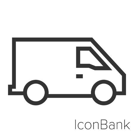 Icon Bank Van in black and white Illustration.