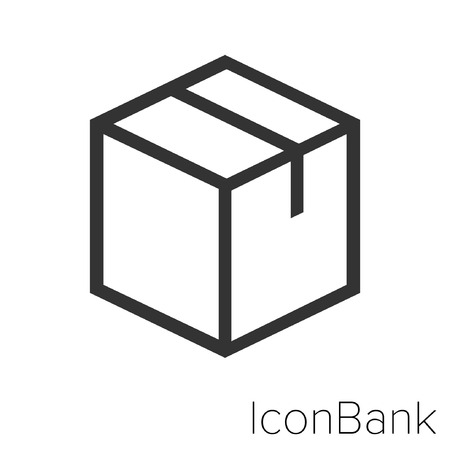 Icon Bank Closed box in black and white Illustration.