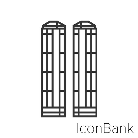 Icon Bank central park towers in black and white Illustration.