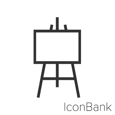 Icon Bank painter is easel in black and white Illustration. Ilustração