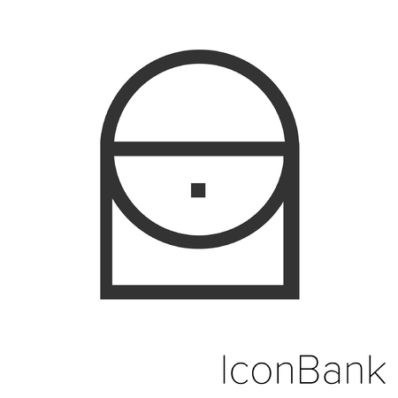 Icon Bank purse in black and white Illustration.