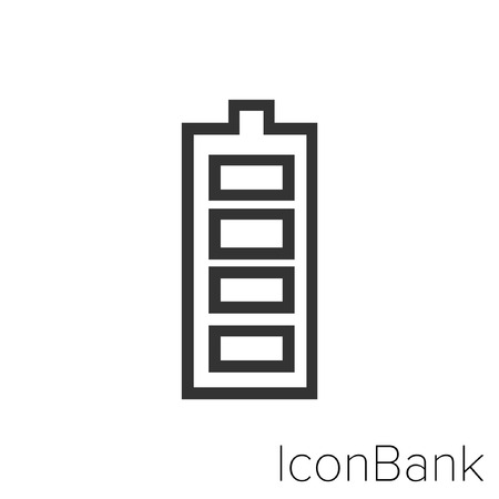 Icon Bank one hundred percent battery in black and white Illustration. Vectores