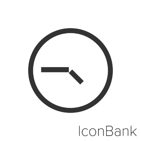 Icon Bank four and forty-five clock in black and white Illustration.
