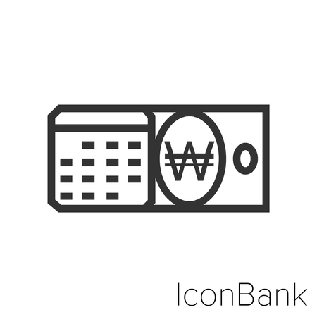 Icon Bank calendar with Won in black and white Illustration. Illustration