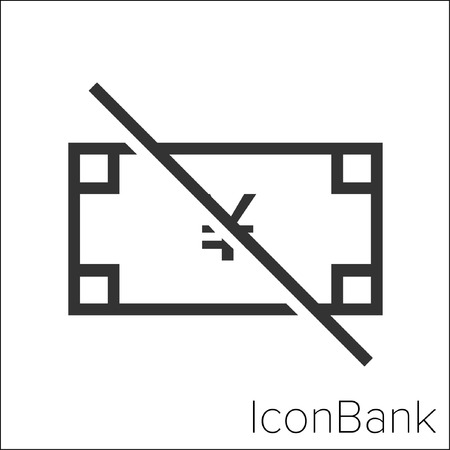 Icon Bank no Yen in black and white Illustration.