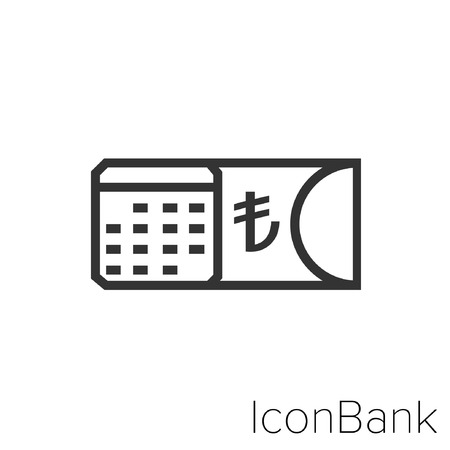 Icon Bank calendar with lira in black and white Illustration. Çizim
