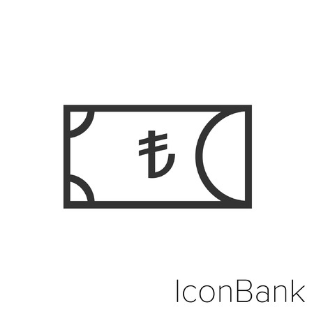 Icon Bank cash lira in black and white Illustration.