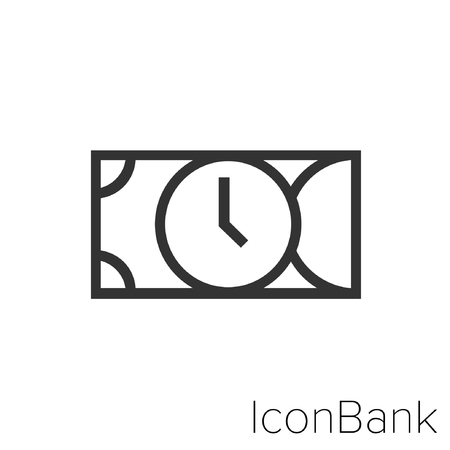 Icon Bank clock inside lira in black and white Illustration.