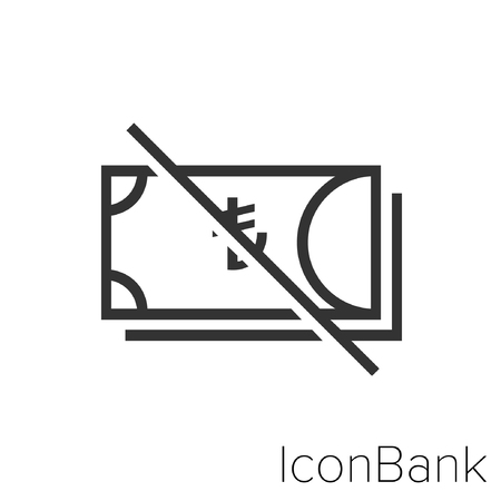 Icon Bank no lire in black and white Illustration. Vettoriali